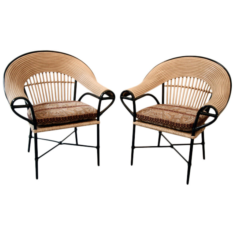 Exceptionnel Pair Of Bamboo Arm Chairs With Cushions