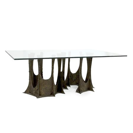 Sculpted Bronze Dining Table By Paul Evans