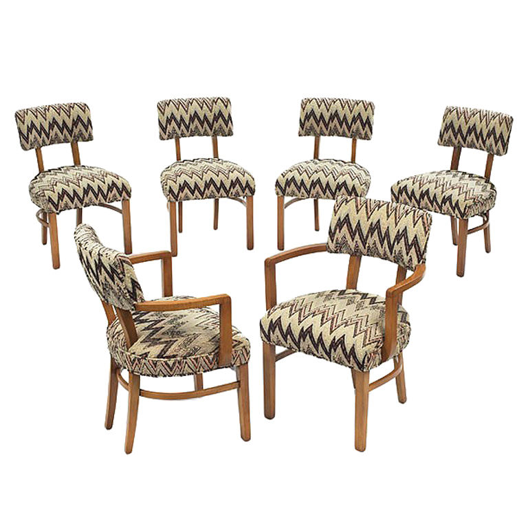 Set Of Six Art Deco Dinging Chairs Gilbert Rohde