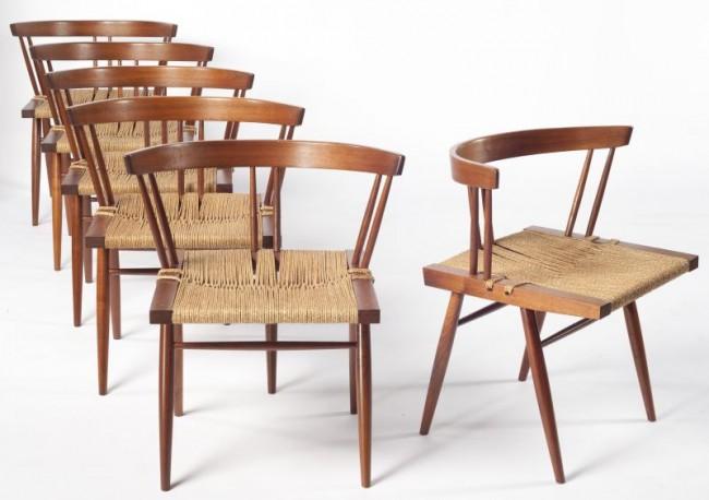 Six Walnut And Grass Chairs George Nakashima