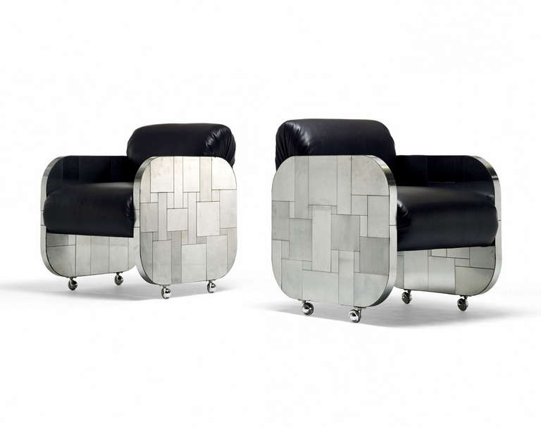 Sold, A Rare Pair Of Cityscape Patchwork Lounge Chairs Paul Evans Paul Evans